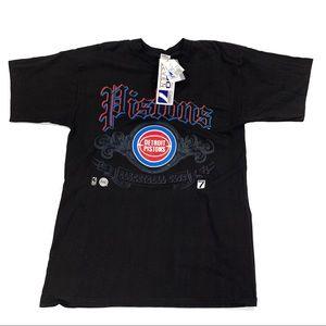Logo 7 L Detroit Pistons Black Mens Tee Shirt